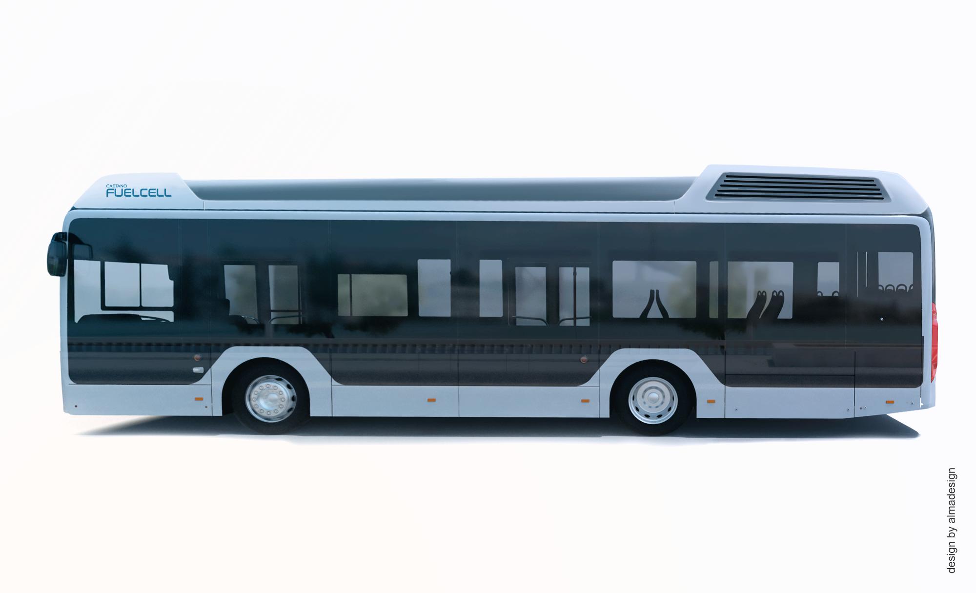 Esboço do autocarro a hidrogénio que será produzido pela CaetanoBus