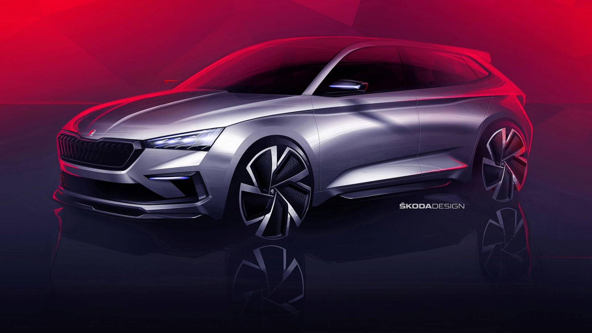 Teaser do Skoda Vision RS que será revelado no Salão de Paris