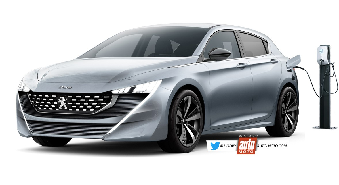 Render do possível aspeto do Peugeot 308 híbrido plug-in