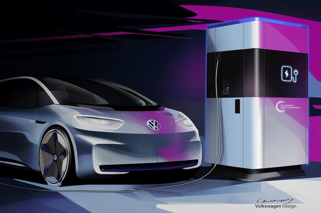 Aspeto do novo posto de carregamento elétrico móvel da VW