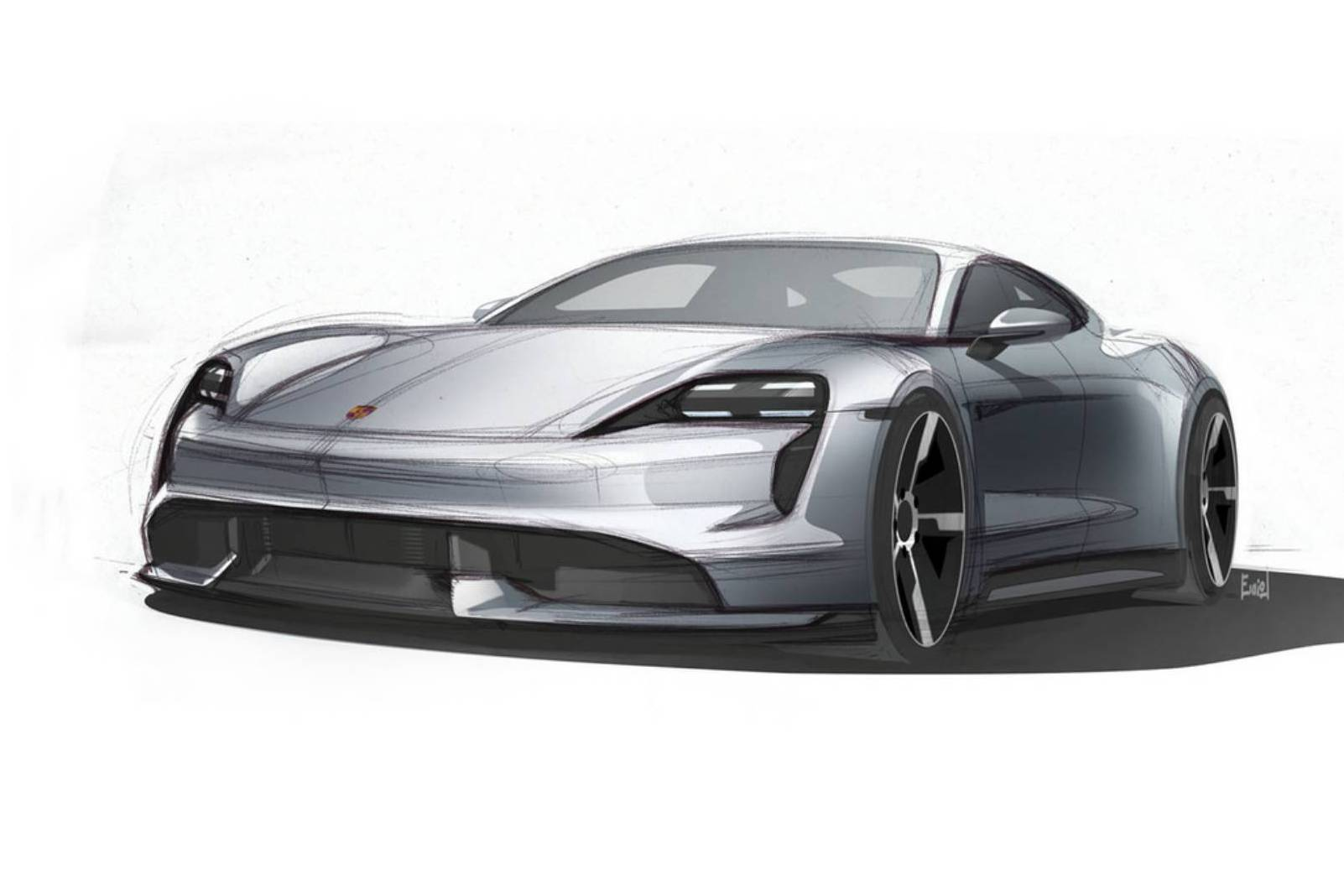 Sketch oficial do Porsche Taycan