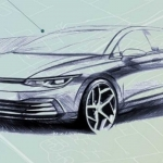 Sketch do exterior do VW Golf VIII