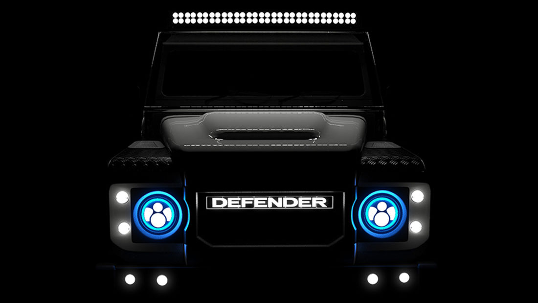 Teaser do Defender com motor Tesla