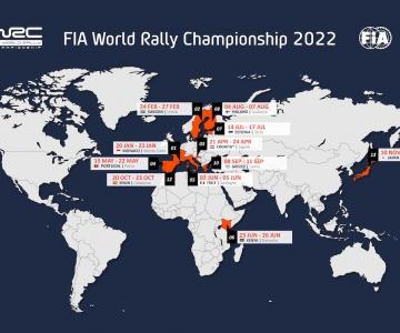 Mapa provisório do WRC 2022